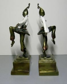 c.1920's Art Deco Pompeian Bronze Company Dancing Girl Jester Bookends - Rare!!