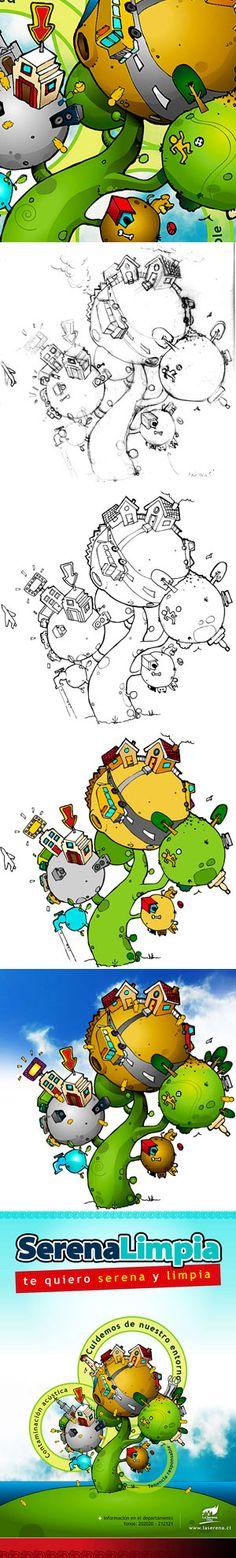 2009 / La Serena Limpia on Behance #illustration #illustrator