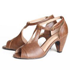 t-strap brown heels
