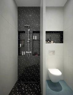 Modern – badezimmerfliesen in Schwarz. Hier auch mit farblich abgetrenntem WC vo… Modern – bathroom tiles in black. Here also with separate WC from Mariya Rubleva