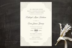 """I like pretty much everything about this one. Except I would change the font of the names slightly, I think what they have here is slightly too formal for us.   """"Splendorous"""" - Classical, Elegant Wedding Invitations in Cream by Design Lotus."""