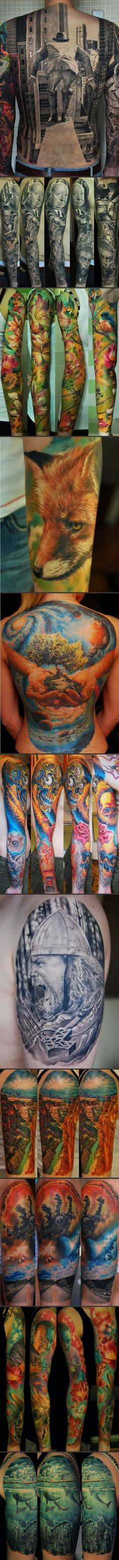 "Wonderful tattoo designs… {These are all such beautiful works of art.  BUT!  If that first one was my boyfriend, I'd pinch his back every time I saw it.  All I can think is, ""Tush!""}"