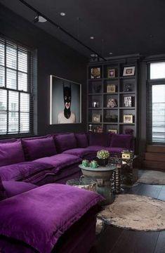 Living room decor apartment purple couch ideas for 2019 Living Room Decoration purple living room decor Living Room Designs, Living Room Decor, Bedroom Decor, Purple Living Rooms, Purple Rooms, Dining Room, Cat Couch, Deco Violet, Sofa Design