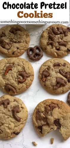 Sweet and salty chocolate pretzels are the star ingredient in these addictive chocolate pretzel cookies! - Something Sweet Something Savoury Homemade Chocolate, Chocolate Recipes, Pretzel Cookies, Pretzels, Easy Cookie Recipes, Dessert Recipes, Chewy Chocolate Chip Cookies, Home Baking, Sweet And Salty