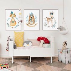 Cute Garland Indian Animal Bear Deer Fox Poster Nordic Kids Baby Room Wall Art Print Picture Home Decor Canvas Painting No Frame Painting Prints, Wall Art Prints, Poster Prints, Wall Art Pictures, Print Pictures, Indian Animals, Tribal Bear, Baby Room Wall Art, Cheap Paintings