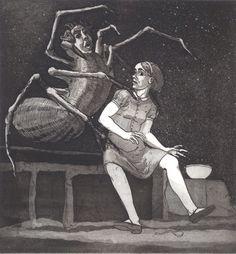 Paula Rego Little Miss Muffet (I) 1989 Etching and aquatint x cm Paper: 52 x 38 cm Série Nursery Rhymes Paula Rego Art, A Level Art, Feminist Art, Gcse Art, Little Miss, Nursery Rhymes, Printmaking, Sculpture, Illustrators