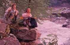 "John Buxton painting - River Watch 10"" x 15"" oil"