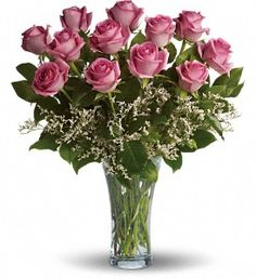 Make Me Blush - Dozen Long Stemmed Pink Roses in HarrisburgPA, The Garden Path Gifts and Flowers
