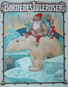 Vintage magazine, 1905  santa claus polar bear art walrus northern lights