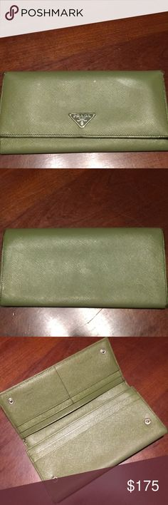 Prada Saffiano Leather Wallet Gorgeous Prada wallet made in Italy. Gently used by me. Very good condition. Some wear at edges. Color is Avocado Green. Prada Bags Wallets