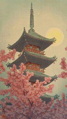 Pagoda, Ueno Park in Spring Evening Kasamatsu Shiro Japanese Woodblock Painting Asian Beautiful Ink Art Print by Tokugawa - X-Sm Japanese Art Prints, Japanese Drawings, Japanese Artwork, Japanese Painting, Japon Illustration, Japanese Illustration, Deidara Wallpaper, Art Asiatique, Art Japonais