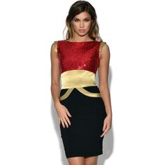 Tempest Ollie Sequin Dress ($100) ❤ liked on Polyvore featuring dresses, red, gold sparkly dress, bodycon dress, red sequin dress, sequin cocktail dresses and gold bodycon dress