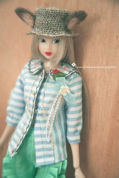 jiajiadoll hand embroider blue and white stripes by jiajiadoll, $35.00