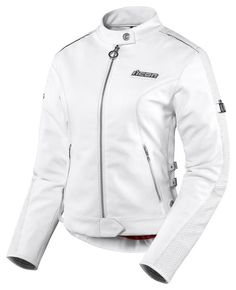 White leather may be better for visibility and also less-intimidating than black leather (if you're meeting up with girlfriends over coffee for example). Icon Hella Leather Motorcycle Jacket White Womens SM/Small $400