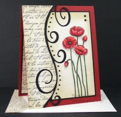 handmade card ... Script and Poppies ... beautiful card ... luv the curved line with curly cues off the sides ... great design!
