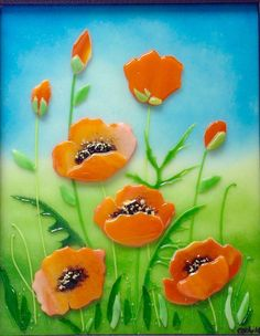 California Poppies in Fused Glass by CDChilds on Etsy