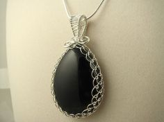 Black Onyx Wire Wrapped Netted Bezel Pendant