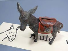 Donkey Burro with Blanket Saddle Iron Still Bank - Vintage 1930s Collectible by UrbanRenewalDesigns on Etsy