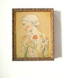 Original Painting : Tattooed Lady, Flora. $650.00, via Etsy.
