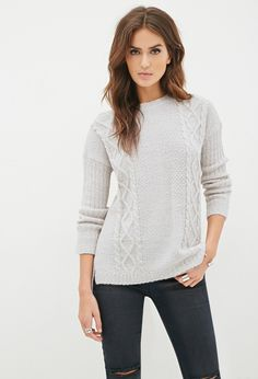 Contemporary Boxy Cable Knit Sweater