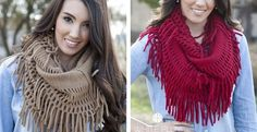 This fringe infinity scarf is amazing!  So many colors to choose from to match any fall outfit.