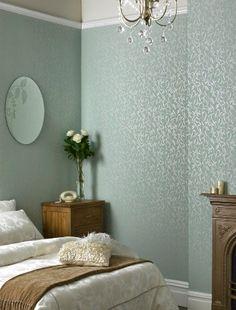 Subtle Art Deco inspired bedroom wallpaper
