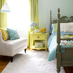 Painted gray bed.
