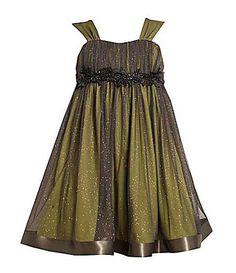Bonnie Jean  Shirred Sparkle Dress