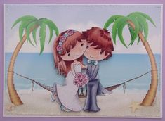 Beach wedding card topper decoupage on Craftsuprint designed by Toni Martin - made by Lynda Harman - This was printed onto white glossy photo paper and decoupaged up. I added glitter glue to the flowers and headband and also around the edge to add a bit of sparkle. This was then placed on a white card blank. - Now available for download!