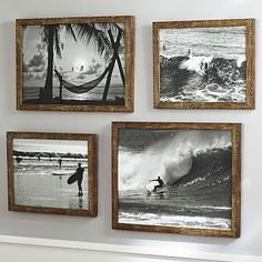 Love this for the kids' surf themed bathroom! But black and white pictures from our beach trips!  Black And White Surf Prints #pbteen