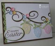 Pretty Easter Egg card - Beautiful swirly garland with hanging decorated eggs. The Eggs have been glittered and popped up f - Easter Projects, Easter Crafts, Easter Ideas, Cricut Cards, Stampin Up Cards, Diy Easter Cards, Handmade Easter Cards, Holiday Cards, Christmas Cards
