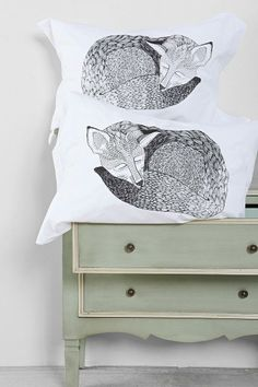 The Rise And Fall Sleeping Fox Pillowcase - Set Of 2 #urbanoutfitters