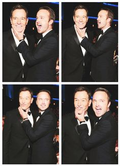""""""" Bryan Cranston and Aaron Paul in the audience at the Primetime Emmy Awards """" Breaking Bad Cast, Aaron Paul, Bryan Cranston, It Cast"""