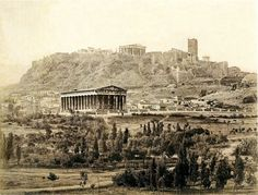 Thiseion and Acropolis, 1870. Photo by Petros Moraitis | Benaki Museum Photographic Archive