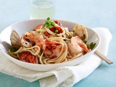 Recipe of the Day: Giada's Grilled Seafood Pasta  In Italian cooking, fra diavolo is meant to be a spicy sauce, but if your family prefers it mild, just hold back on the chile pepper.
