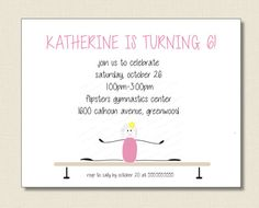 girls gymnastic BIRTHDAY INVITATION by TutuRevue on Etsy, $21.70