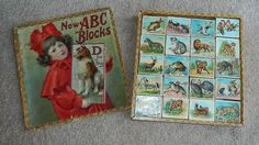 ANTIQUE X-LARGE GERMAN Toy LITHOGRAPH ABC Blocks in Box Max Moritz Animals