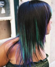 Gorgeous Green Teal, Purple and Blue Peak a Boo Highlights
