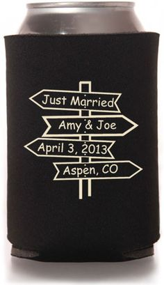 So I've thought about coozies for gifts...a different pattern than this, but this one has our names on it! Trippy!