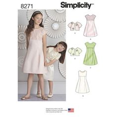 5105cfd63202 Simplicity Pattern 8271 Child's and Girls' Dress and Jacket Girl Dress  Patterns, Girls Fancy