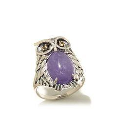 Jade of Yesteryear Lavender Jade Owl Ring
