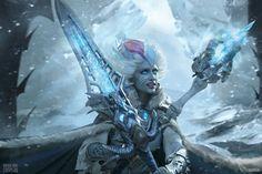 Frost Lich Jaina IX - New Queen by Narga-Lifestream on DeviantArt Hearthstone Expansion, Jaina Proudmoore, Blood Mage, Rapunzel Cosplay, Fantasy Female Warrior, Lich King, Death Knight, War Craft, Back In The 90s