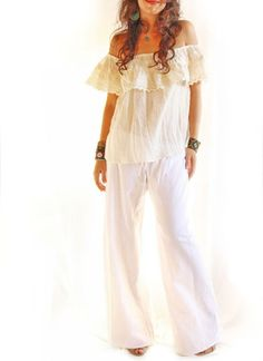 Eyelet vintage romantic off the shoulder Mexican blouse.