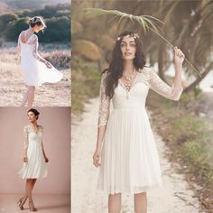 Discount Long Sleeves Lace Appliques Sheer Weeding Dresses Backless Bridal Gowns Foe Beach Wedding Knee Length Short V-Neck A-Line Gowns WD110 Online with $49.85/Piece | DHgate