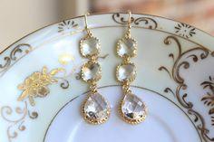 Crystal Earrings Gold Plated Clear Three Tier - Crystal Bridesmaid Jewelry - Wedding Earrings - Crystal Bridal Earrings - Christmas Gift