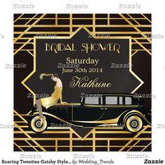Shop Roaring Twenties Gatsby Style Bridal Shower Invitation created by Wedding_Trends. Zazzle Invitations, Bridal Shower Invitations, Roaring 20s Wedding, Roaring Twenties, Headpiece Wedding, Bridal Headpieces, Wedding Veils, Speakeasy Party, Amigurumi