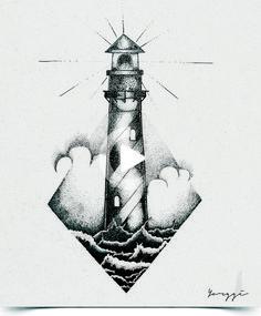 tattoo lighthouse drawing drawings tattoos stippling sketches leuchtturm тату ink line ескізи vorlagen simple mosaul dorene compass эскизы ideen tattooideas