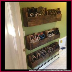 Dollar Store Crafter: Use Pallets To Make A Wall Shoe Rack