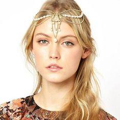 Boho New Gold Tassels Pearl Bead Pendant Crown Tiara Headband Hair Cuff Chain