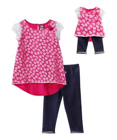 Look at this Dollie & Me Fuchsia Floral Hi-Low Tunic Set & Doll Outfit - Kids & Tween on #zulily today!